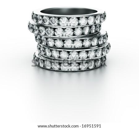 3d rendering of 5 diamond rings - stock photo