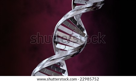 3D Rendering of DNA strand, shiny chrome on a red background - stock photo