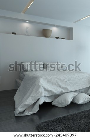 3D Rendering of Double bed with large duvet and extra pillows on the floor in a modern white bedroom interior illuminated by recessed down lights in an alcove - stock photo