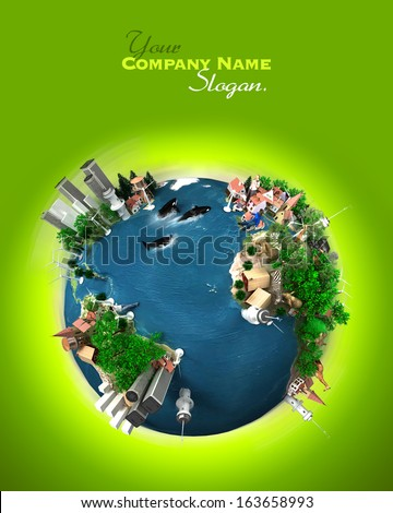 3D rendering of ecology oriented version of the planet Earth. - stock photo
