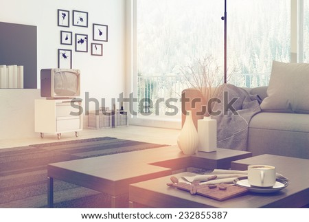 3D Rendering of Elegant architectural living room design with furniture set and decorations reflected by sunlight. Surrounded by white wall and glass windows. - stock photo