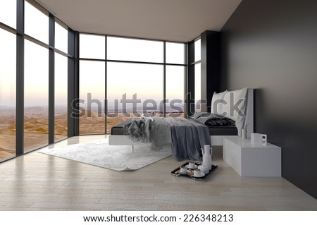 3D Rendering of Elegant Black and White Architectural Bedroom Design with Glass Walls for Overlooking Outside View . - stock photo