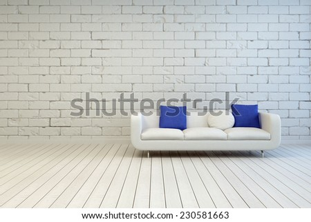 3D Rendering of Elegant White Couch With White and Blue Pillows on an Empty Living Room with an Off White Brick Wall and Wooden Floor Design. - stock photo
