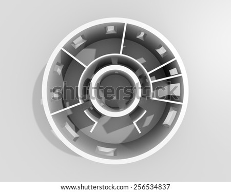 3D rendering of empty apartment roofless - stock photo