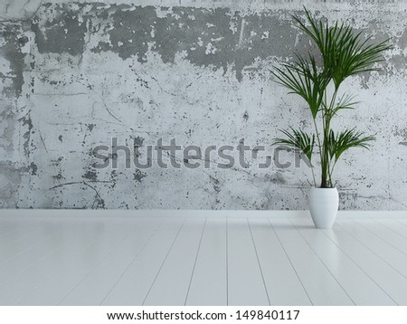 3d rendering of empty room interior with stone wall and houseplant - stock photo