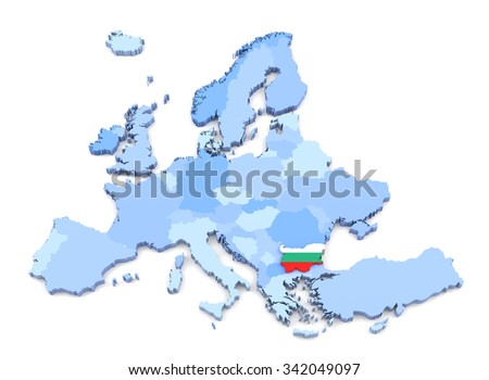 3D Rendering of Europe Map, Bulgaria with Flag - stock photo