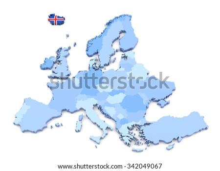 3D Rendering of Europe Map, Iceland with Flag - stock photo
