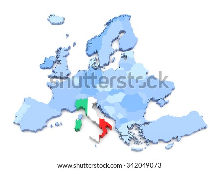 3D Rendering of Europe Map, Italy with Flag - stock photo
