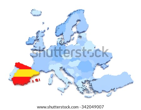 3D Rendering of Europe Map, Spain with Flag - stock photo