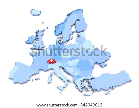 3D Rendering of Europe Map, Switzerland with Flag - stock photo