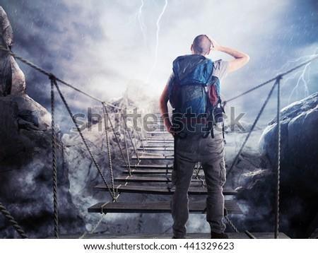3D Rendering of explorer on unstable bridge - stock photo