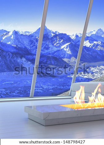 3D rendering of fireplace with scenery view of mountains.  - stock photo