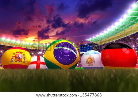 3D rendering of footballs in the year 2014 in a football stadium - stock photo
