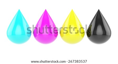 3d rendering of four glossy cmyk drops isolated on white background - stock photo