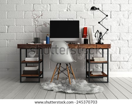 3D Rendering of Front View of Personalized Elegant Worktable with Computer, Lamp and Documents, Paired with Single Chair on a Furry Cloth. - stock photo