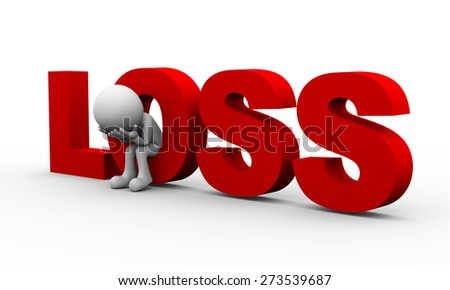 3d rendering of frustrated upset sad depressed man sitting inside word loss. 3d white people man character - stock photo