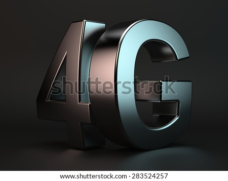 3d rendering of 4G cellular high speed data connection concept logo - stock photo