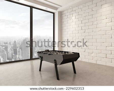 3D Rendering of Gaming table in a spacious white painted brick playroom with large bright panoramic windows overlooking a city - stock photo