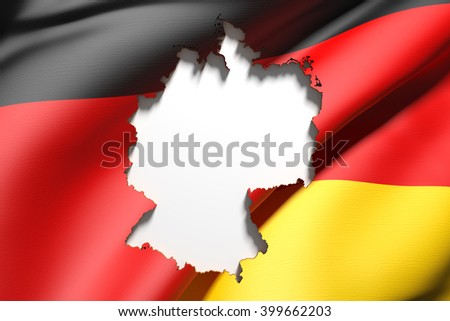 3d rendering of Germany map and flag on background. - stock photo