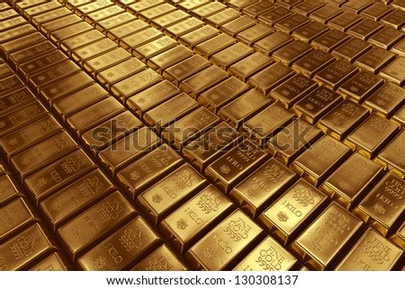 3d rendering of gold bullion. - stock photo