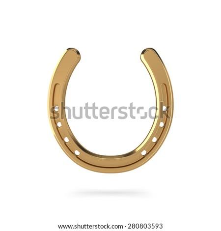 3d rendering of golden horseshoe on white background - stock photo