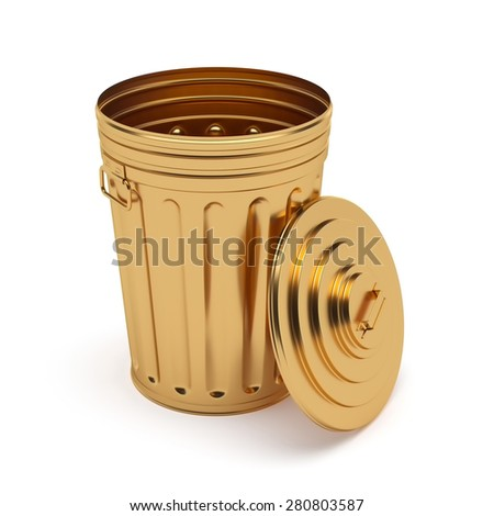 3d rendering of golden opened trash can isolated on white background - stock photo