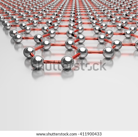 3D Rendering of Graphene Structure on Light Surface - stock photo