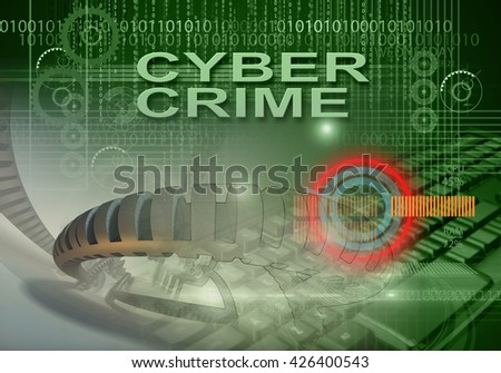 3d rendering of hi tech infographics of cyber crime - stock photo