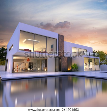 3D rendering of Impressive villa with pool at the end of the day - stock photo