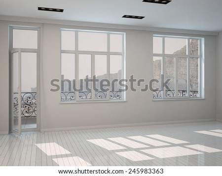 3D Rendering of Interior of a bright sunny white room with a row of large windows and a patio door with white painted floorboards, unfurnished bare architectural background - stock photo