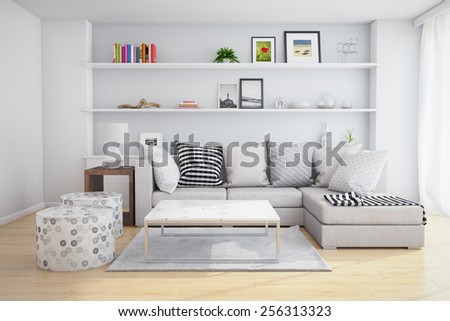 3D Rendering of interior of a living room with shelves and sofa with pillows. - stock photo