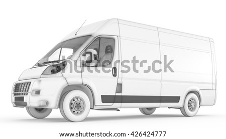 3D rendering of Isolated sketch white van with white background - stock photo