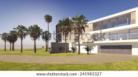 3D Rendering of Large modern multi-storey house on a luxury estate with manicured lawns and tropical palm trees, panoramic view on a blue sky sunny day - stock photo