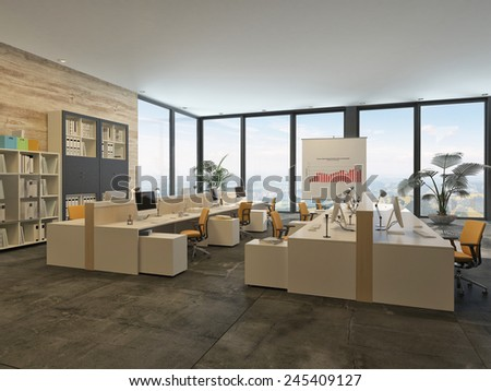 3D Rendering of Large open-plan commercial office with rows of workstations and computers in a bright airy room with a glass wall letting in lots of daylight - stock photo