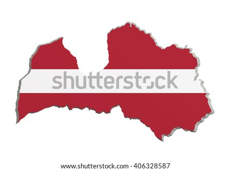 3d rendering of Latvia map and flag on white background. - stock photo