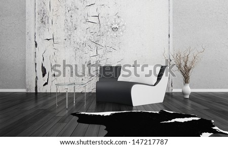 3D rendering of loft apartment interior in black and white  - stock photo