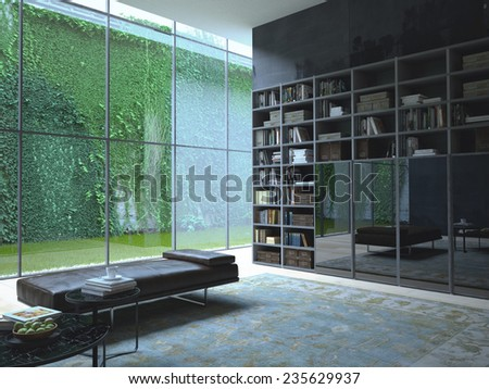 3D rendering of loft apartment interior with green plant wall - stock photo