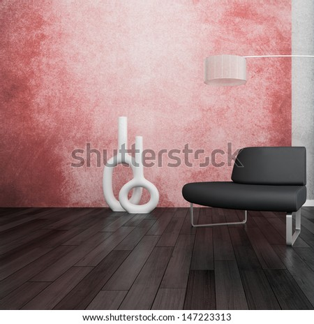 3D rendering of loft apartment interior with minimalist bench and floor lamp against coral color wall - stock photo
