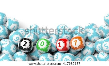 3D rendering of lucky colorful balls with 2017, isolated on white - stock photo