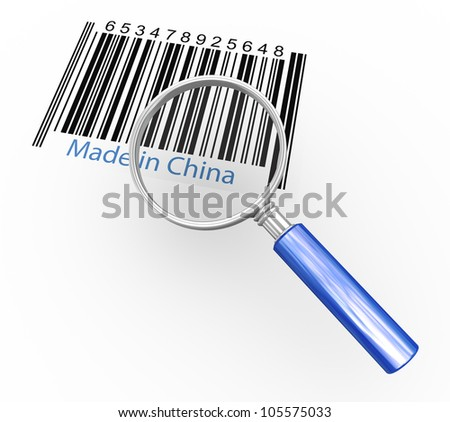 """3d rendering of magnifying glass hovering over """"made in china"""" barcode - stock photo"""