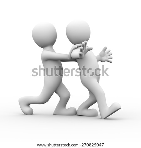 3d rendering of man pushing his friends for encouragement.  Concept of friendship, help, support, love. 3d white person people man - stock photo