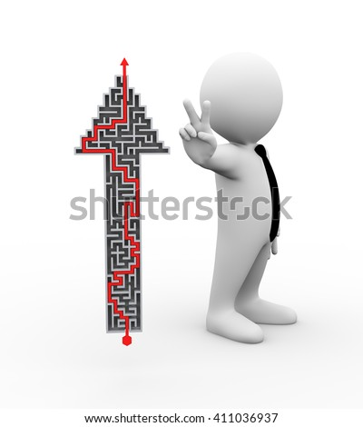3d rendering  of man showing peace, victory, success sign standing with solved maze arrow .  3d rendering of human people character - stock photo