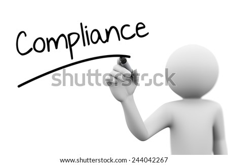 3d rendering of man writing compliance  with marker on transparent glass screen. 3d white people character - stock photo