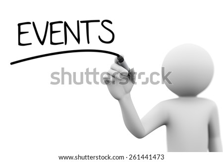 3d rendering of man writing events with marker on transparent glass screen. 3d white people character - stock photo