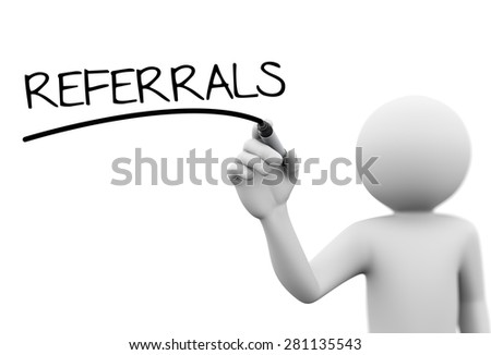 3d rendering of man writing referrals with marker on transparent glass screen.  - stock photo