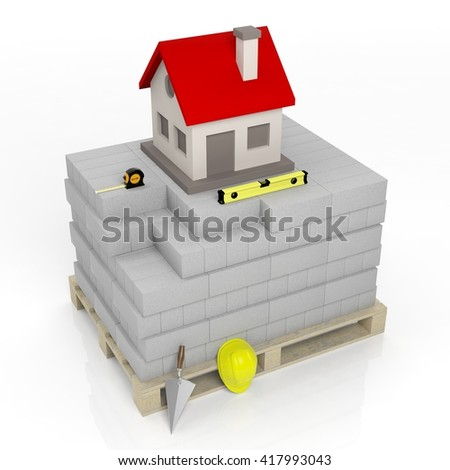 3D rendering of masonry tools and bricks with house symbol on top, isolated on white. - stock photo