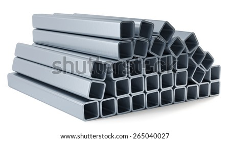 3d rendering of metal profile isolated on white background - stock photo