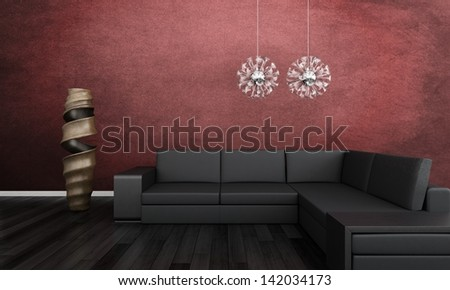 3d rendering of Modern black couch against red wall - stock photo