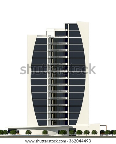 3d rendering of modern conceptual business centre building isolated on white, frontal facade - stock photo