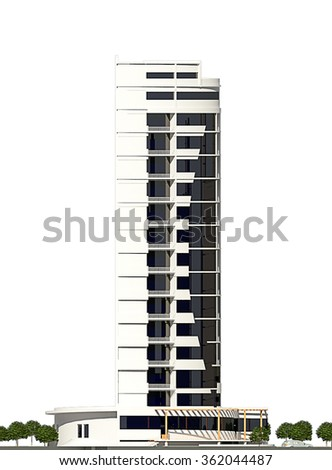3d rendering of modern conceptual business centre building isolated on white, lateral facade - stock photo